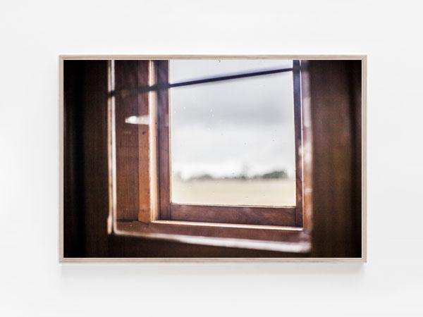 Train trip print vintage window